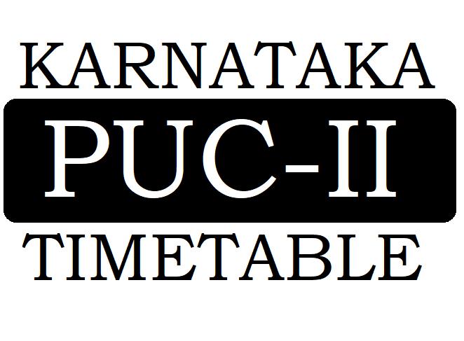 Kar 2nd PUC Time Table 2021